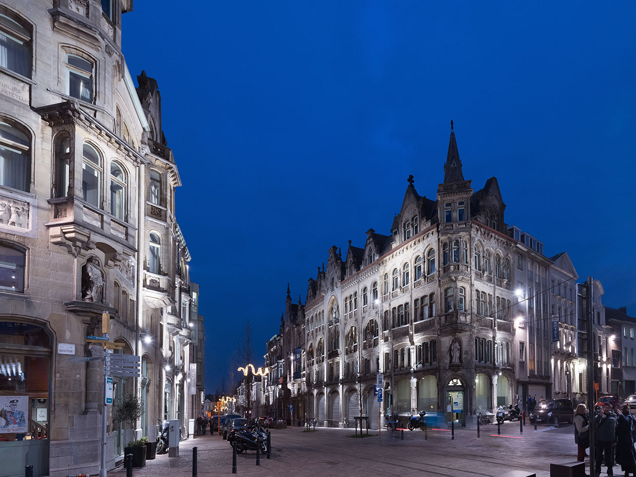 The city of Ghent has created a soft nighttime landscape with a subtle illumination scheme